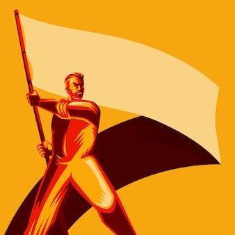 空白の国旗ベクトル図を保持する革命男