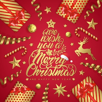 メリークリスマスと幸せな新年のバナーのテンプレート