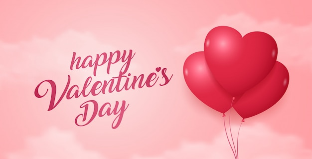幸せなバレンタインデーのバナーのテンプレートの背景