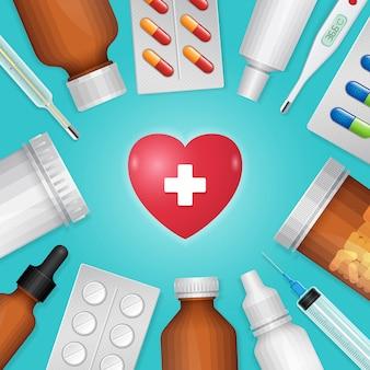 ヘルスケアと医療の心臓とボトルの丸薬