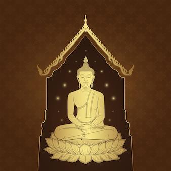 タイの芸術の仏寺と背景のパターン