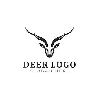 黒鹿の頭のロゴデザインインスピレーションのイラスト。