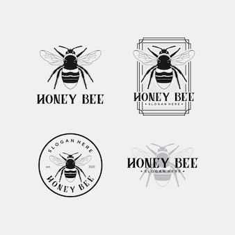 Мед пчелы логотип дизайн премиум шаблон набор акций
