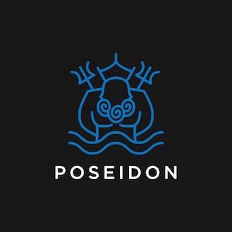 ポセイドンラインアートロゴデザインプレミアムテンプレートストック
