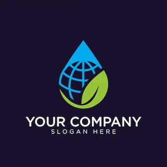 自然な地球のロゴデザインプレミアムテンプレート株式