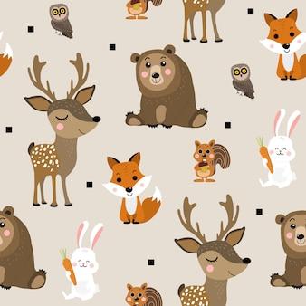 森の動物のシームレスなパターン