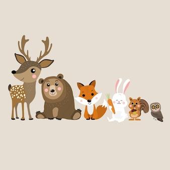 野生動物のキャラクター。