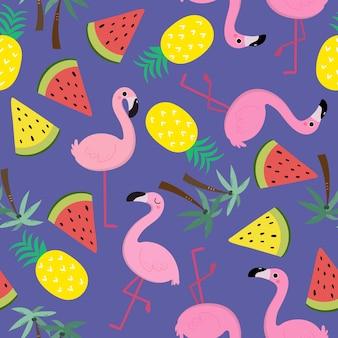 かわいいフラミンゴパターン