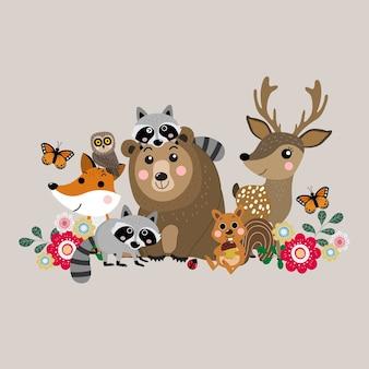 かわいい森の動物、野生動物のベクトル。