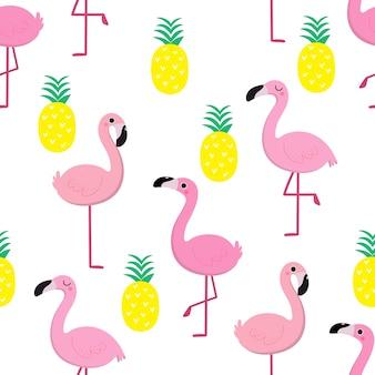 フラミンゴとパイナップルシームレスパターン