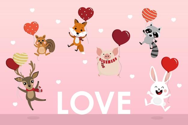 かわいい動物との幸せなバレンタインデーのグリーティングカードは、ハートの風船を保持します。