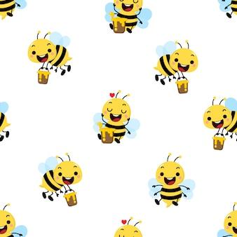 Симпатичная медоносная пчела бесшовный фон
