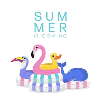 ピンクのフラミンゴ、バイオレットオオハシ、シロナガスクジラと黄色いアヒルの水泳ゴム輪と夏