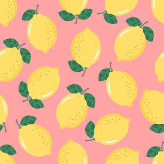 レモンのシームレスなパターン。有機健康フルーツの背景。