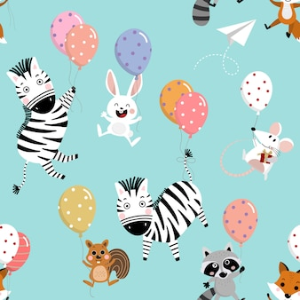 幸せなマウス、ラット、シマウマ、リス、アライグマ、キツネ、ウサギ、風船のシームレスなパターン。