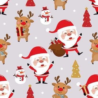 Санта-клаус, снеговик и олень бесшовные модели