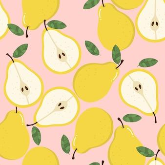 甘い梨のシームレスなパターン。