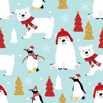 冬の衣装のシームレスなパターンでかわいいペンギンとシロクマ