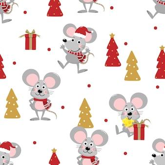 冬の衣装のシームレスなパターンでかわいいマウス