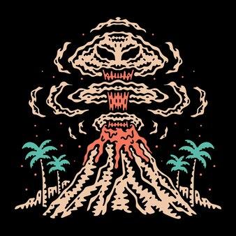 Вулкан векторная иллюстрация