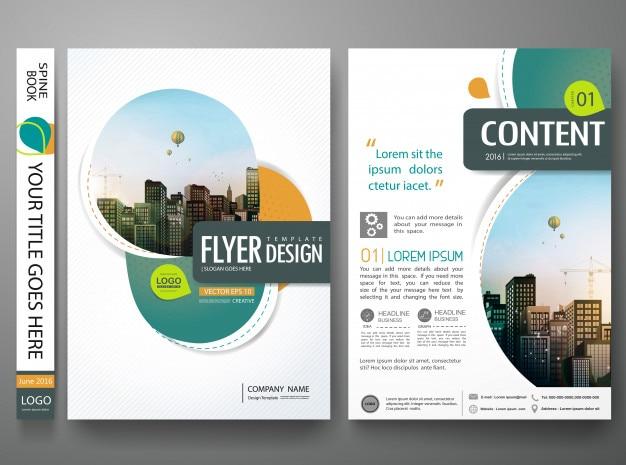 緑の抽象的な円カバーブックポートフォリオデザイン