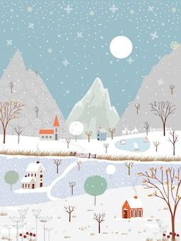 Зимний пейзаж в сельской местности