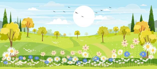 青い空と丘の上の緑の牧草地と春の村のパノラマビュー