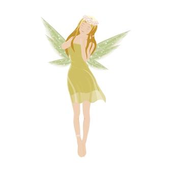 Иллюстрация милая зеленая фея летать с красивыми крыльями