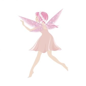 美しい翼で飛んでいるかわいいピンクの妖精のイラスト
