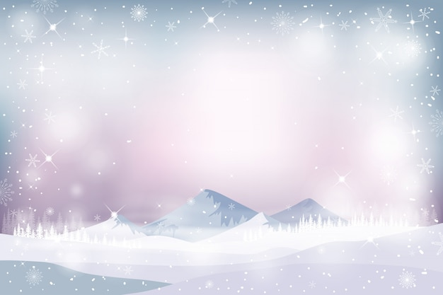 Зимний пейзаж с падающим снегом