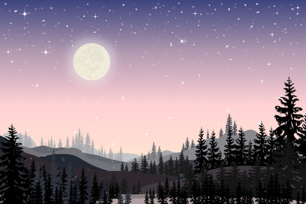 Панорама пейзажей звездной ночи с полным позади горы и сосны