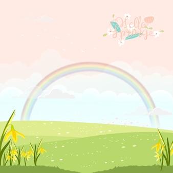 Милый мультфильм весенний пейзаж с копией пространства