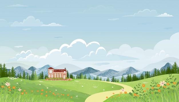 青い空と丘の上の緑の牧草地と春の村のパノラマビュー、ベクトル夏または春の風景、山と農家の草の花とパノラマの田園風景緑の野原。