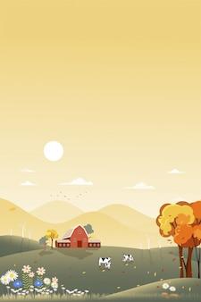 秋の田舎の垂直ファンタジーパノラマ風景、太陽と青い空と農家の家で中秋のパノラマ。コピースペースとオレンジ色の葉の秋のワンダーランド風景