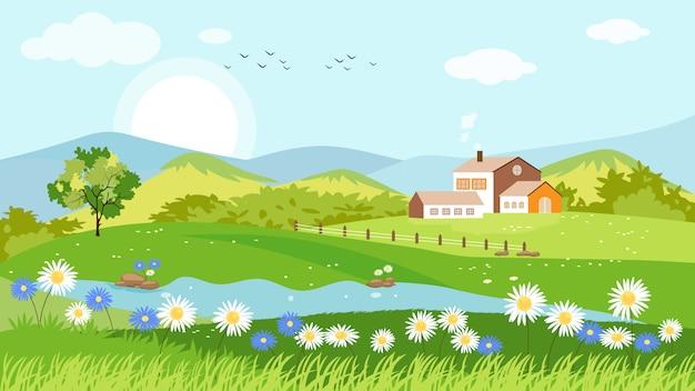 春の村のパノラマビュー