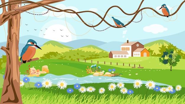 春の村のパノラマ