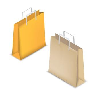 飾るための黄色と茶色のショッピングバッグ