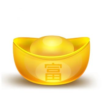 中国の金ゴールドの孤立した要素中国の新年中国