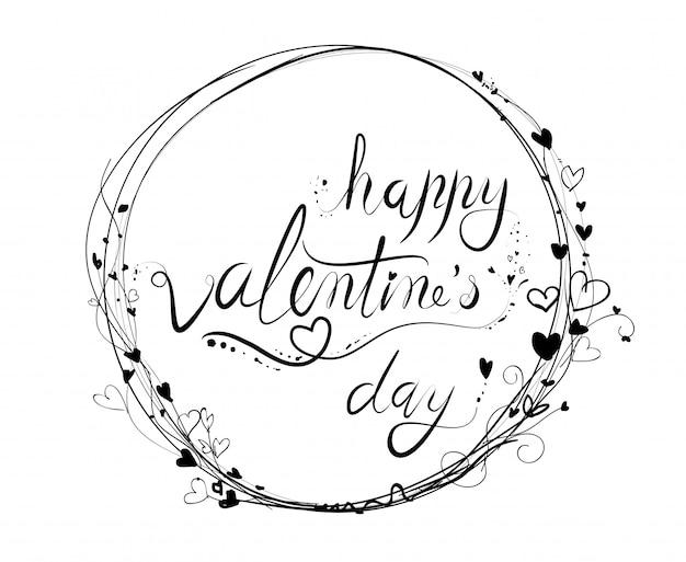 創造的な手描きの手作り幸せなバレンタインデーのテキスト