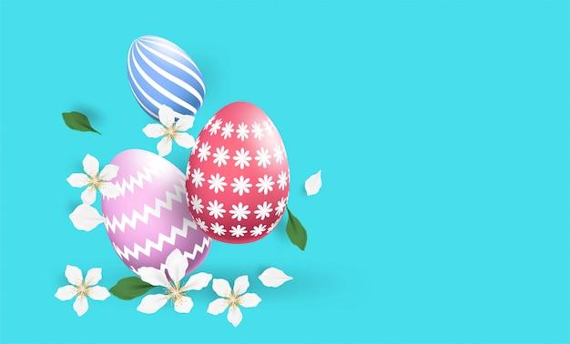 ハッピーイースターカラフルな卵の異なる質感