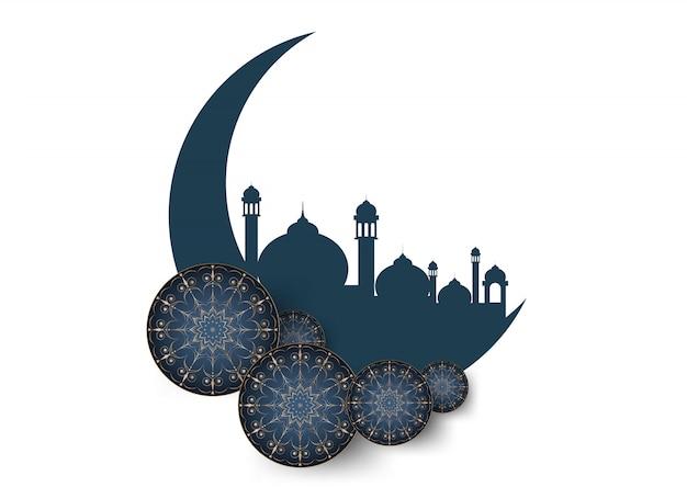 ラマダンイスラムのお祝いカードの背景
