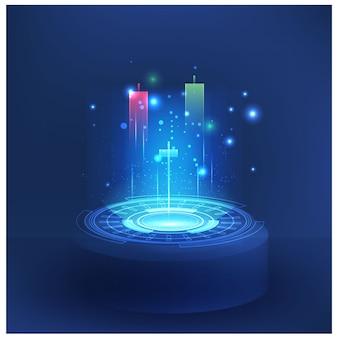 未来の技術は、株式市場の外国為替取引のグラフを制御します保護システムを制御するベクトルの未来のスマートな投資技術