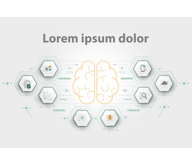 プレゼンテーション用の脳のロゴタイプ