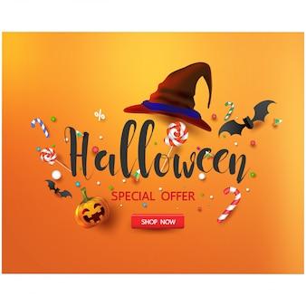 ハロウィーンのキャンディとハロウィーンの帽子と販売促進バナー