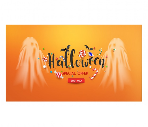 ハロウィーンキャンディとハロウィーンゴーストの販売促進バナー