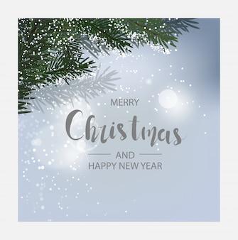 水平方向のクリスマスと幸せな新年カード