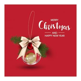 クリスマスツリーの枝とボールクリスマスの背景