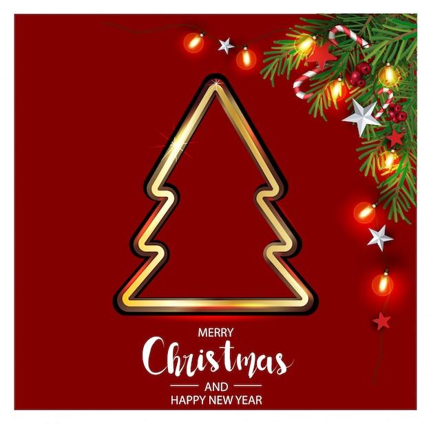 果実で飾られたクリスマスツリーの枝とクリスマスの背景