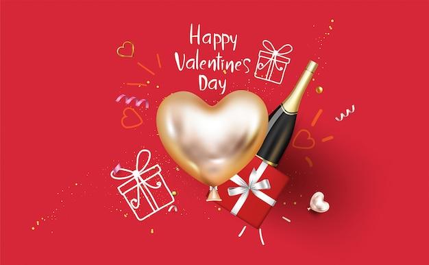 幸せなバレンタインデーのスーパーセールプロモーションオンラインショッピング。