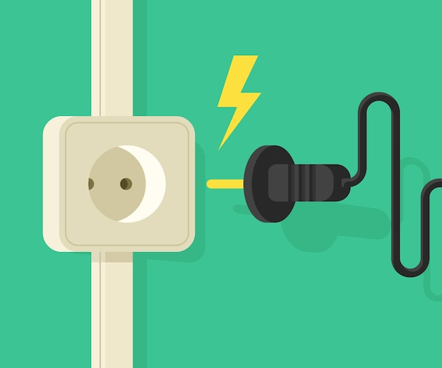 Электрический выход с электрическим штекером. картонный баннер на электробезопасность